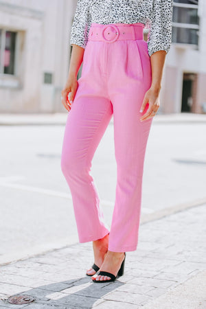 Pretty in Pink Belted Trouser