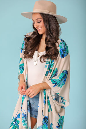 Floating Along Printed Kimono - Blue Palm Leaf - Tops - Wight Elephant Boutique