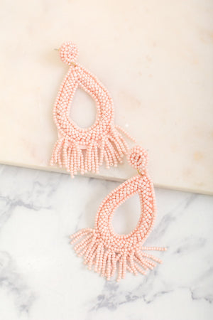 Drops of Rain Beaded Tear Earrings - Pink