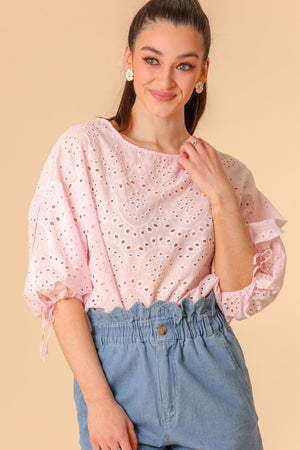 Pick a Flower Pink Eyelet Crop Top