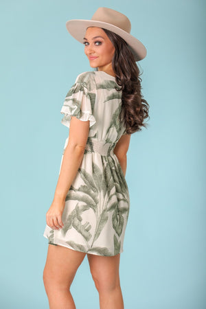 Island Palm Leaf Ruffle Sleeve Mini Dress - Dresses - Wight Elephant Boutique