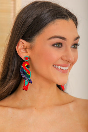 Lovebird Beaded Parrot Earrings