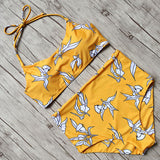 Yellow Base High Waist Bikini Set - Fitness Workout Apparel - Yoga Apparel