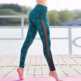 Green Stripe Mesh Patchwork Leggings - Fitness Workout Apparel - Yoga Apparel