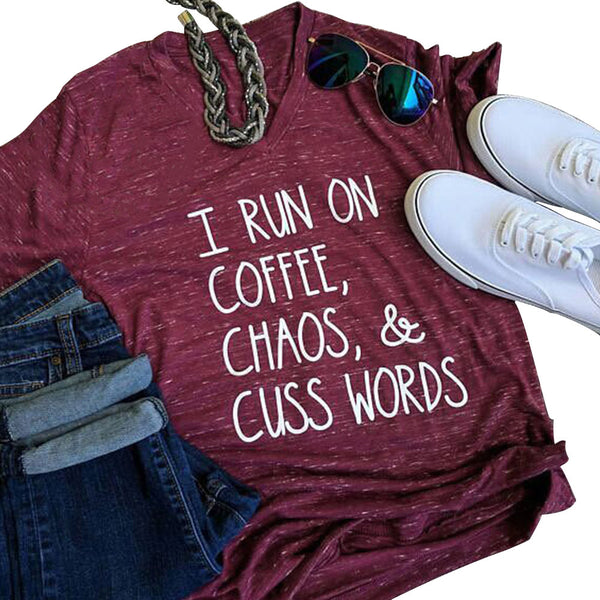 I run on Coffee, Chaos & Cuss Words - Fitness Workout Apparel - Yoga Apparel