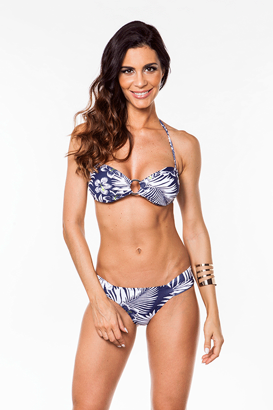 Bikini Floral Navy Blue and White