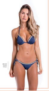 Bikini Top Jeans with Jewels - Skies Azul