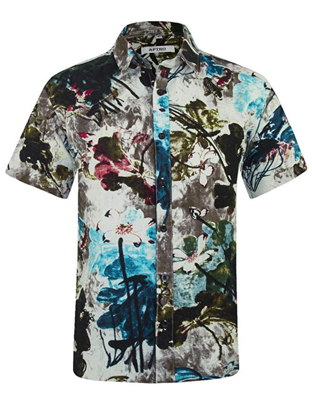 Hawaiian Shirt Abstract Blue, Fuchsia and White - Skies Azul