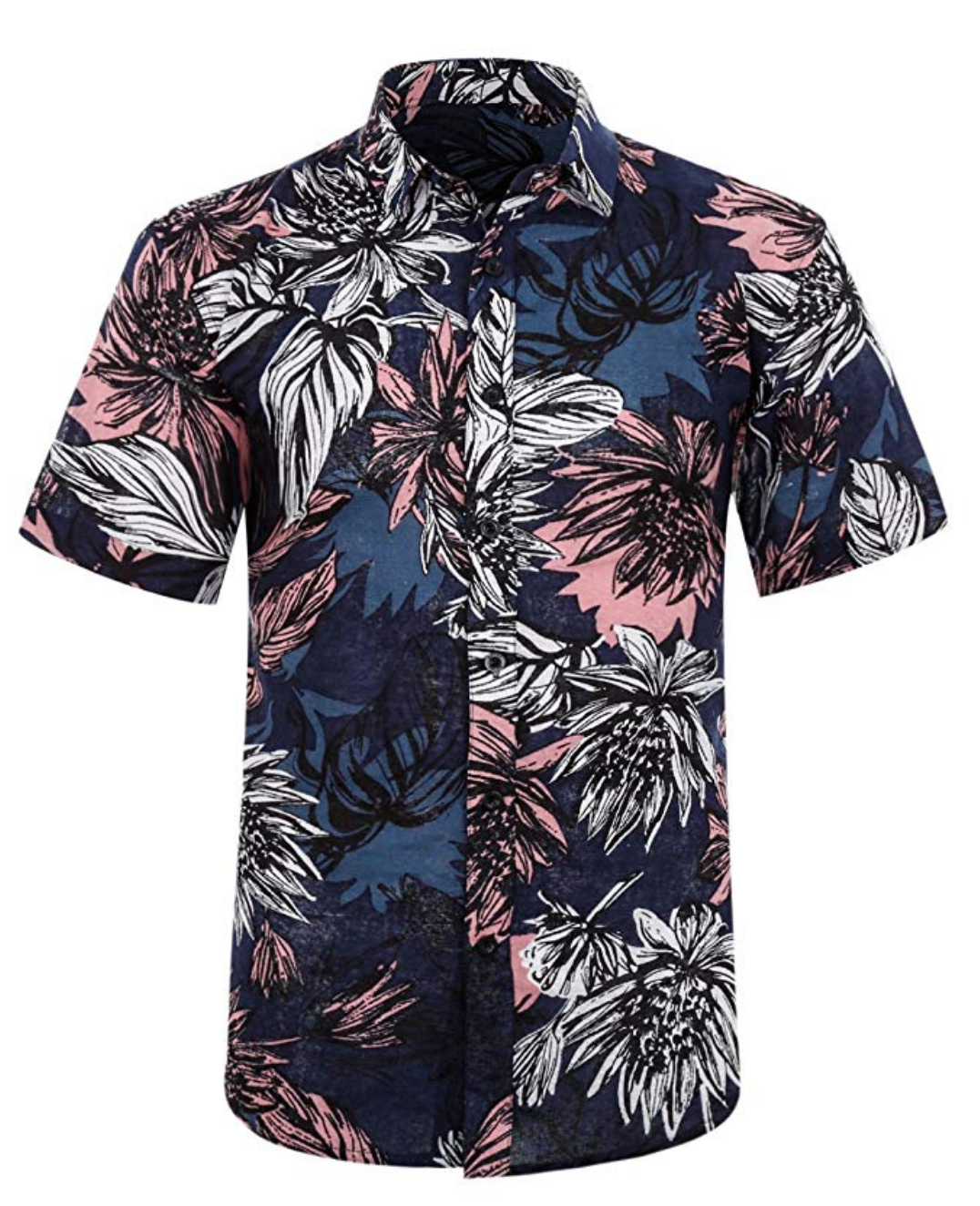 Hawaiian Shirt White, Blue and Coral Leaves