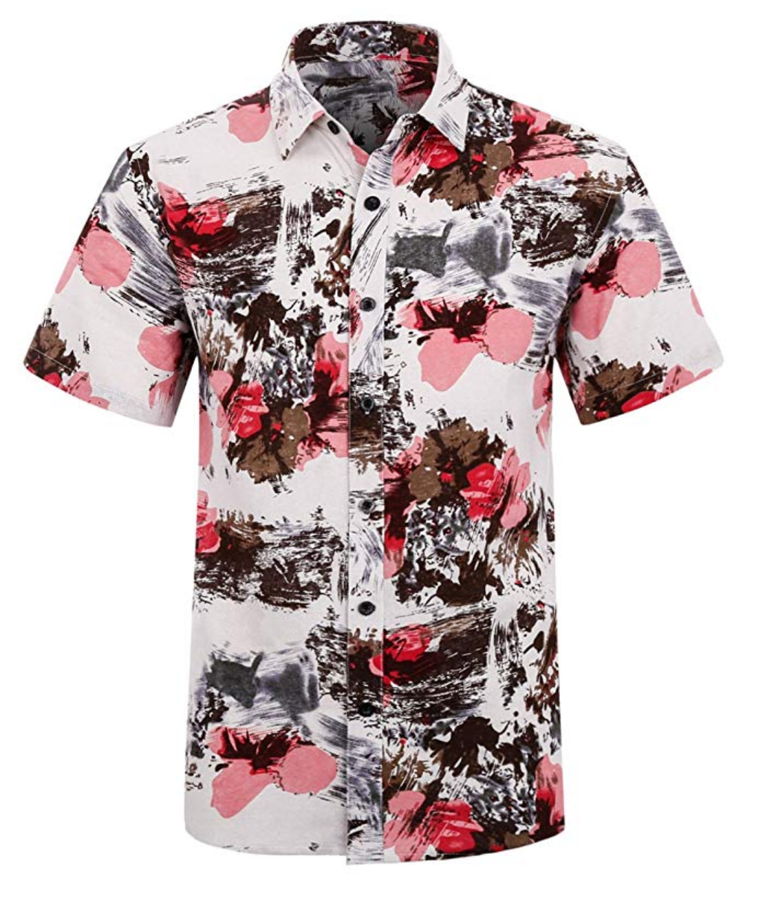 Hawaiian Shirt White, Brown and Watermelon Pink Flowers