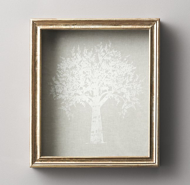 ANTIQUED GILT WOOD SHADOW BOX FAMILY TREE