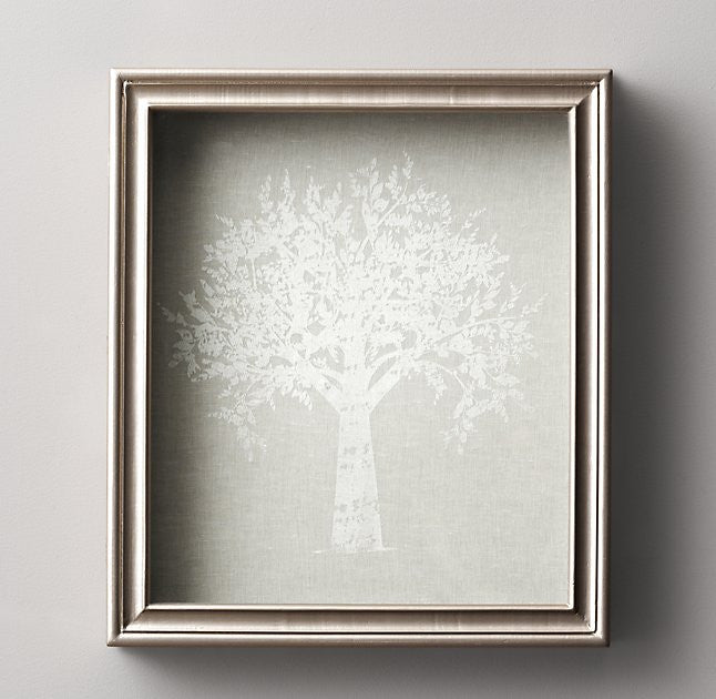 ANTIQUED PEWTER WOOD SHADOW BOX FAMILY TREE