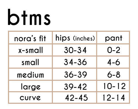 bottoms sizing