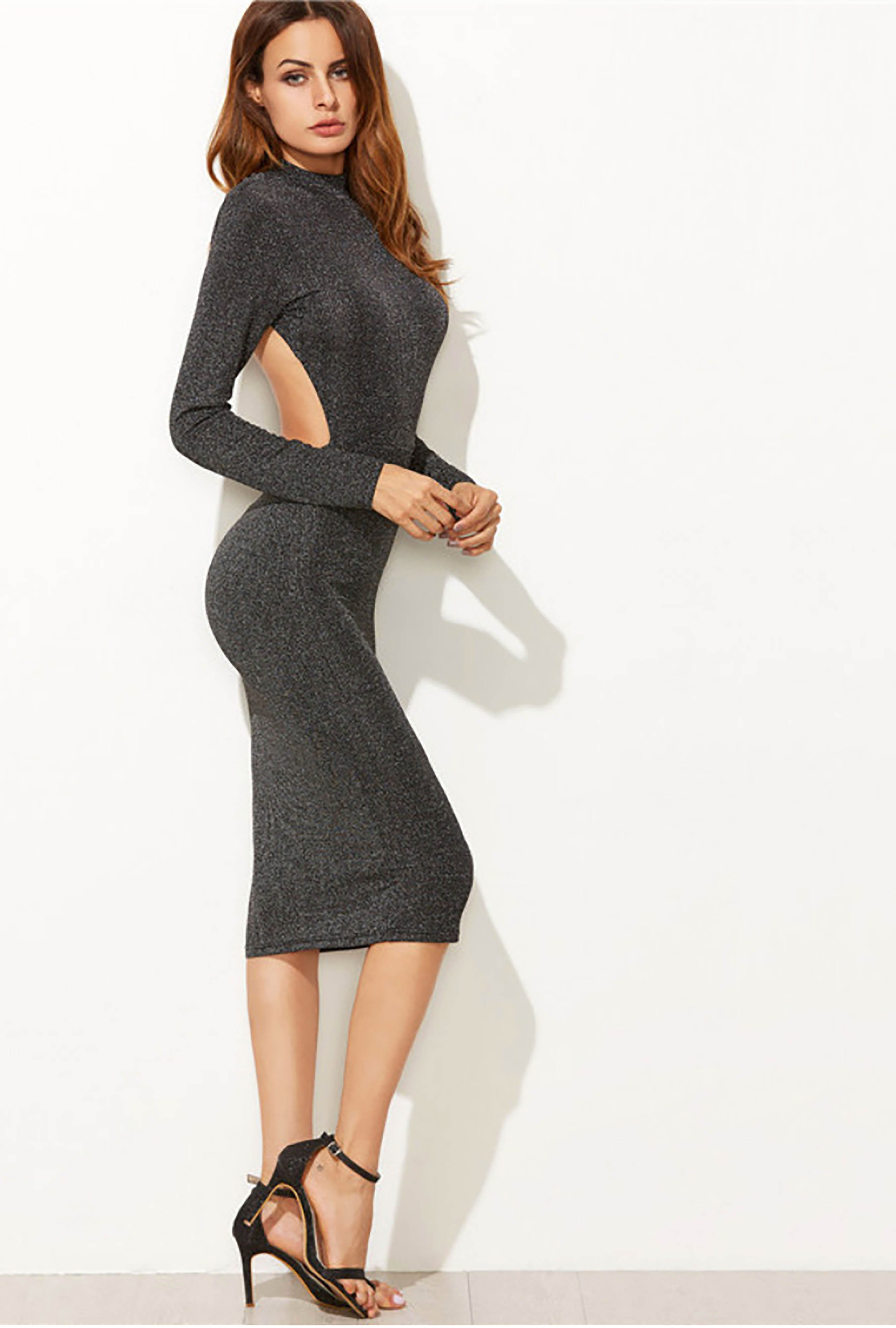 2679abff43d Charcoal Sparkle Ribbed Knit Open Back Midi Dress - EIGHTH YEAR