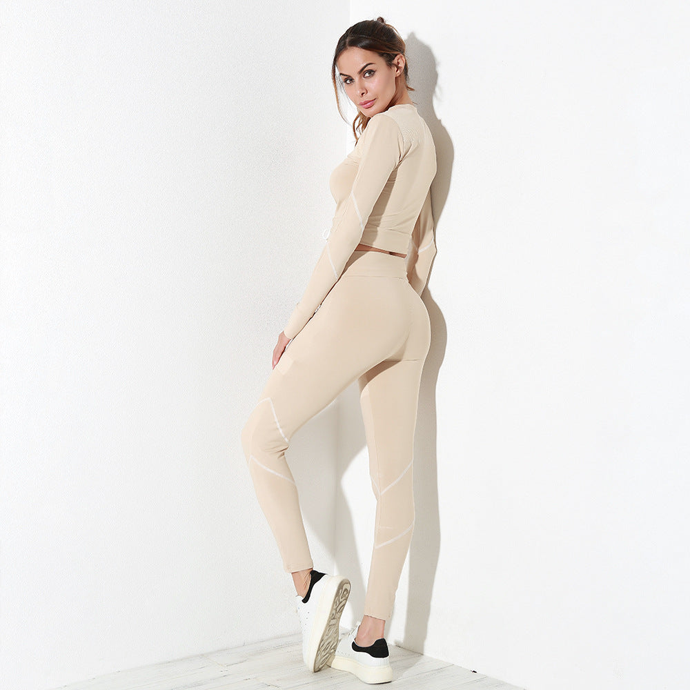 Nude Mesh Splice Workout Long Sleeved Top and Legging Pants Set