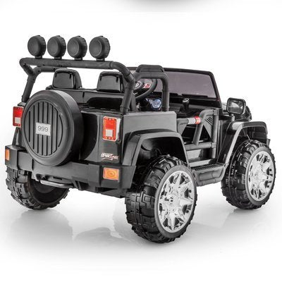SPORTrax Awesome XL Kid's Ride On 4WD, Battery Powered, Remote Control, w/FREE MP3 Player - Black Back Side View