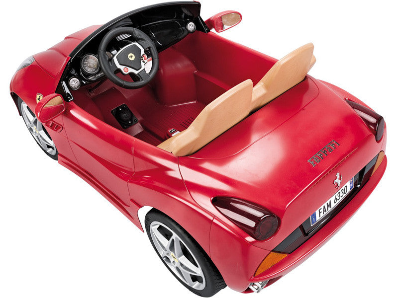 top rear view of ferrari california two seater kids ride on car 12v battery power