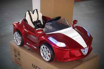 Ferrari Spider Style Ride-On Car by Moderno Kids - Front Side View
