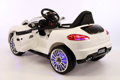 Porsche Boxster Style Ride-On Car by Moderno Kids - Rear View with Doors Open