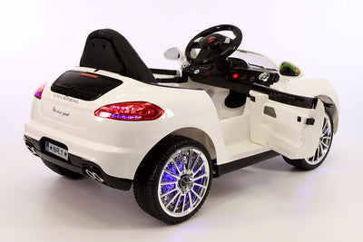 Porsche Boxster Style Ride-On Car by Moderno Kids - Side View with Doors Open