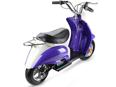 24v Electric Moped By MotoTec | Purple - BACK VIEW