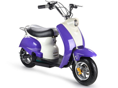 24v Electric Moped By MotoTec | Purple - FRONT VIEW