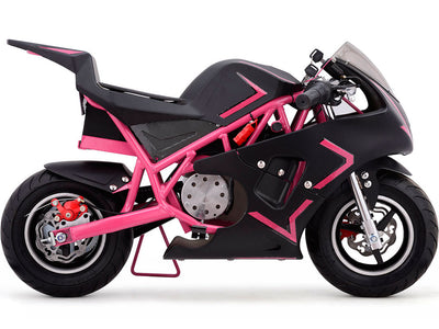 Cali 36v Electric Pocket Bike By MotoTec | Pink SIDE VIEW