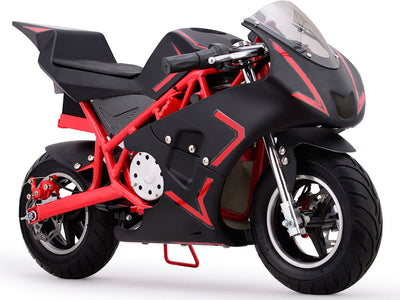 Cali 36v Electric Pocket Bike By MotoTec | Red - Front view