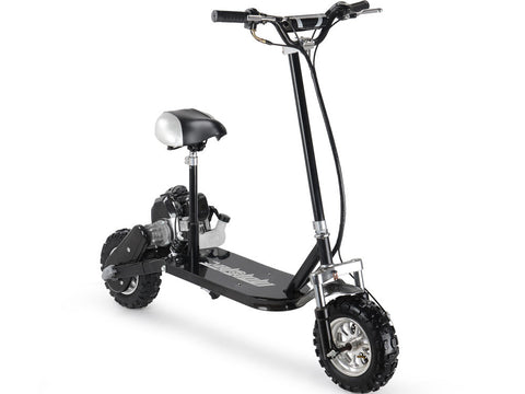 3 speed 49cc gas scooter by mototec black front view