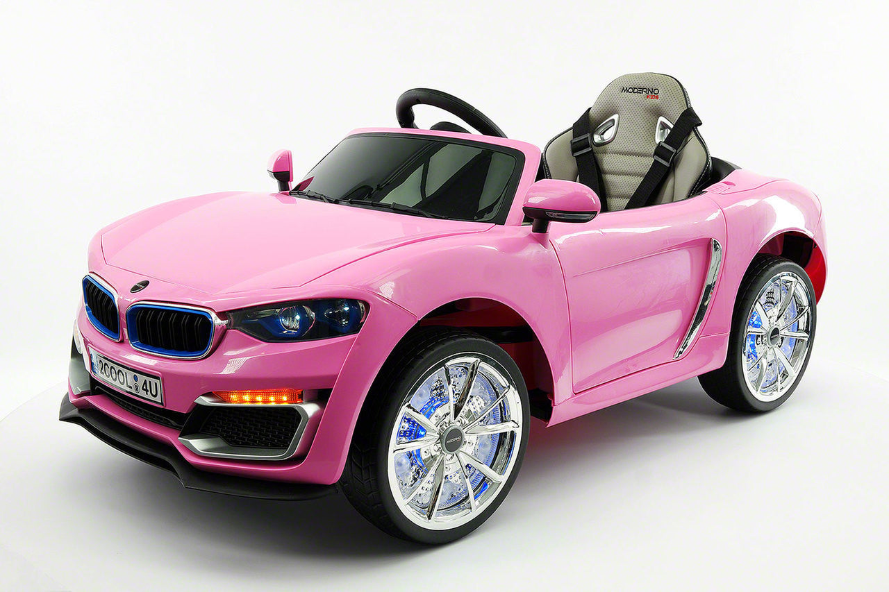 bmw style ride on car by moderno kids front side view