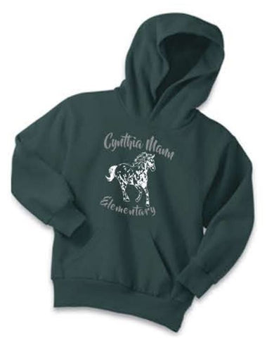 Port & Company® - Youth Core Fleece Pullover Hooded Sweatshirt - Dark Green