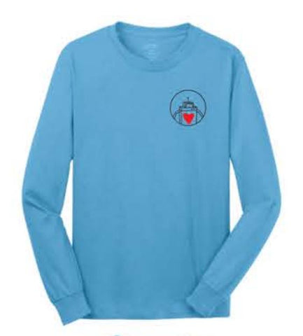 Port & Company® - Long Sleeve Core Cotton Tee - Aquatic Blue