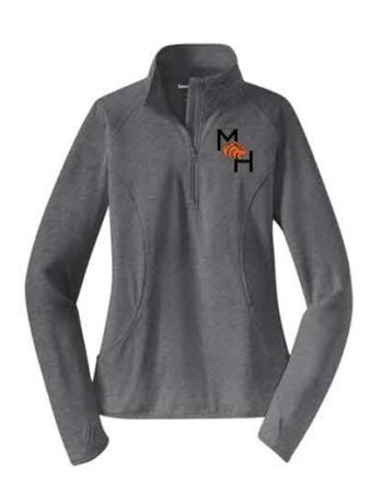 Sport-Tek® Ladies Sport-Wick® Stretch 1/2-Zip Pullover - Charcoal Grey Heather