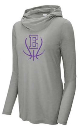 Sport-Tek ® Ladies PosiCharge ® Tri-Blend Wicking Long Sleeve Hoodie -Lt Grey Heather