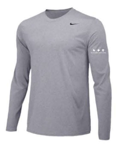 Nike Team Legend Long Sleeve Poly Top - Men's - Carbon Heather ** EMT PERSONNEL ONLY **