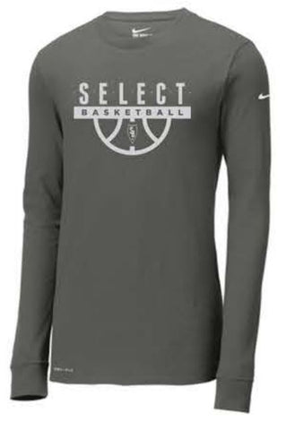Nike Dri-FIT Cotton/Poly Long Sleeve Tee - Anthracite