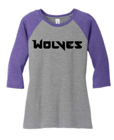 District ® Women's Perfect Tri ® 3/4-Sleeve Raglan - Purple/Grey