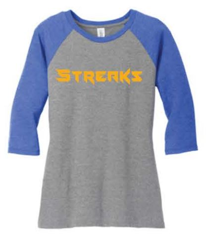 District ® Women's Perfect Tri ® 3/4-Sleeve Raglan - Royal/Grey