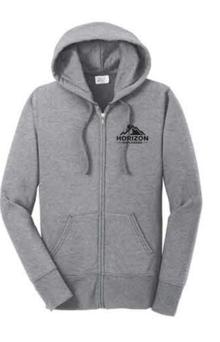 Port & Company® Ladies Core Fleece Full-Zip Hooded Sweatshirt - Athletic Heather