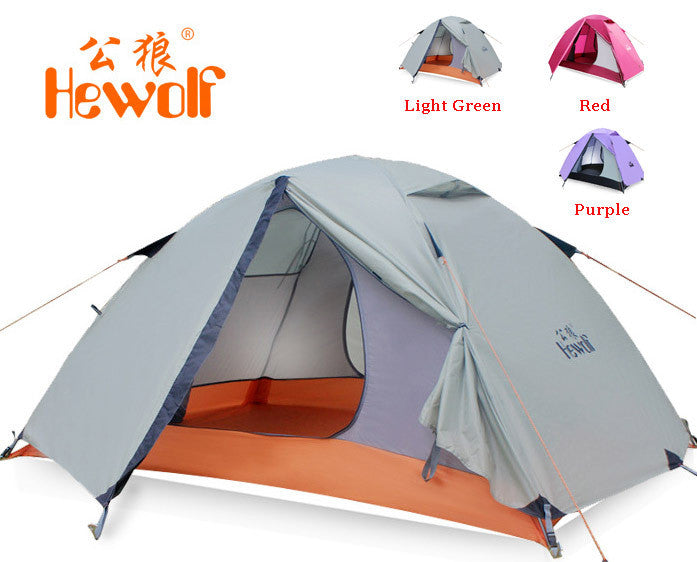 Hewolf outdoor double layer double pole tent camping tent 1595 about 2.51KG