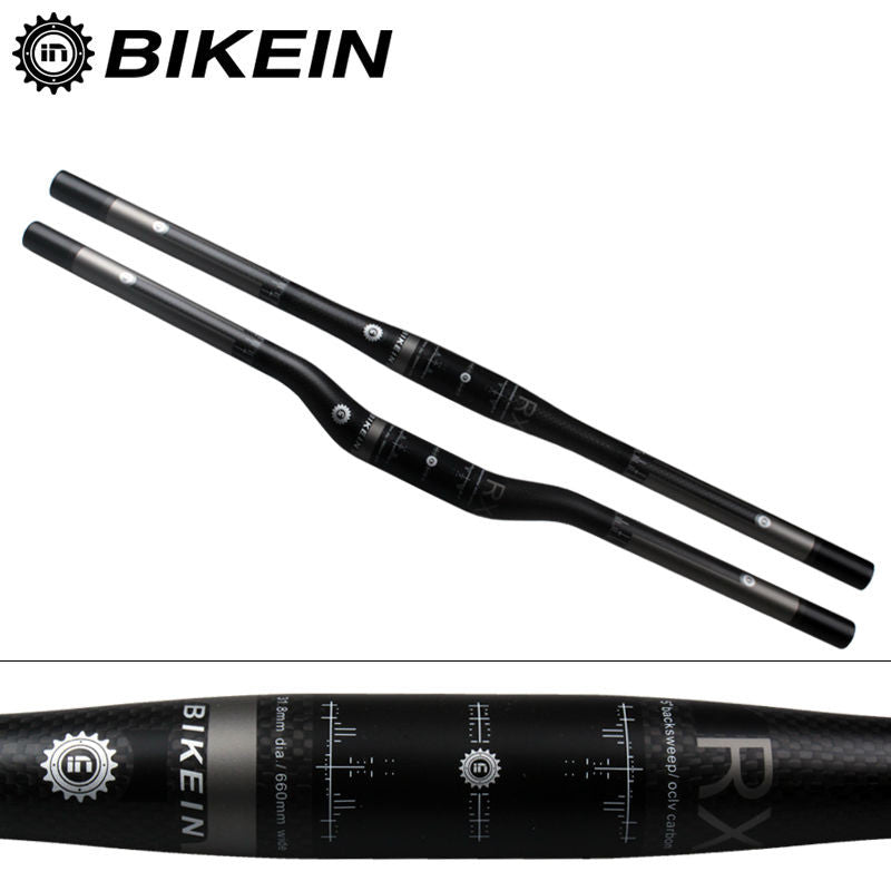 BIKEIN RXL Ultralight 3k Carbon Mountain Bike Flat/Rise Handlebar Cycling MTB Handlebars 31.8mm Matte Black Bicycle parts 135g