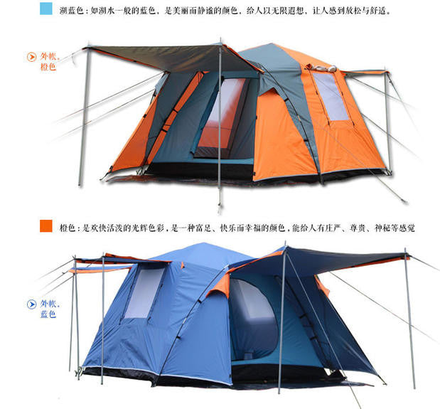 Camel 2doors 3 - 4persons fully-automatic tent automatic camping family tent in good quality family travel tent