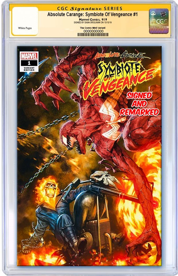 ABSOLUTE CARNAGE SYMBIOTE OF VENGEANCE #1 SKAN SRISUWAN VARIANT LIMITED TO 600 CGC REMARK PREORDER