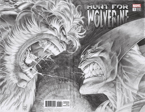 25/04/2018 HUNT FOR WOLVERINE #1 1:1000 KUBERT REMASTERED BW WRAPAROUND VARIANT
