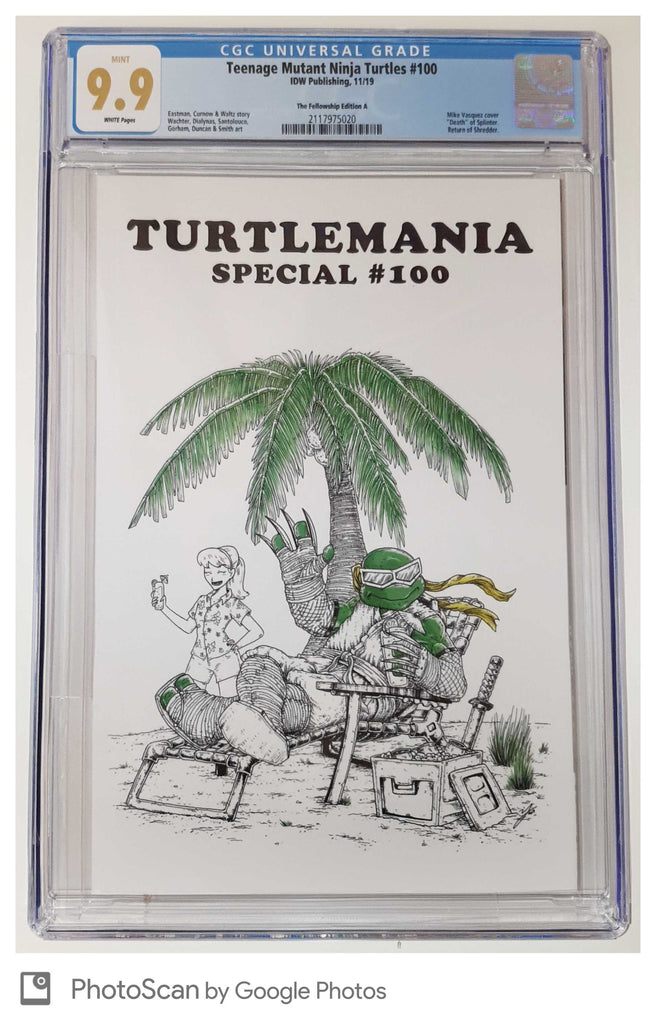 TMNT #100 MIKE VASQUEZ WHITE TURTLEMANIA  HOMAGE VARIANT LIMITED TO 400 UNSIGNED COPIES CGC 9.9