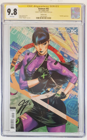 BATMAN #92 CARD STOCK ARTGERM VARIANT VAR ED - 1ST SOLO PUNCHLINE COVER - CGC SS 9.8 SIGNED BY JAMES TYNION IV