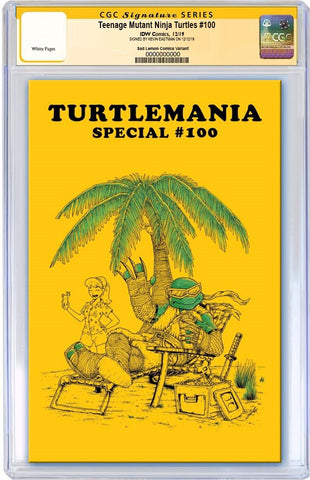 TMNT #100 MIKE VASQUEZ GOLD TURTLEMANIA  HOMAGE VARIANT HEAD, TORSO & WEAPON SKETCH ON BACK BY KEVIN EASTMAN, NUMBERED & CGC GRADED & LIMITED TO 10 COPIES