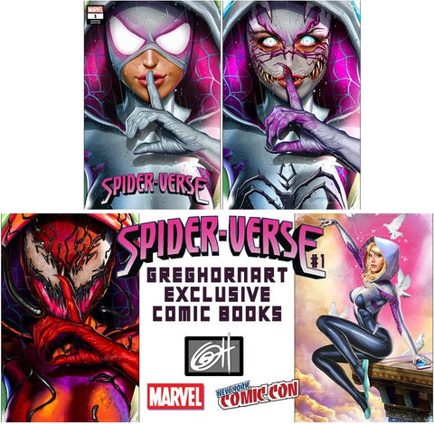 SPIDER-VERSE #1 GREG HORN NYCC TRADE DRESS/VIRGIN 4 COVER VARIANT SET LIMITED TO 1000 SETS