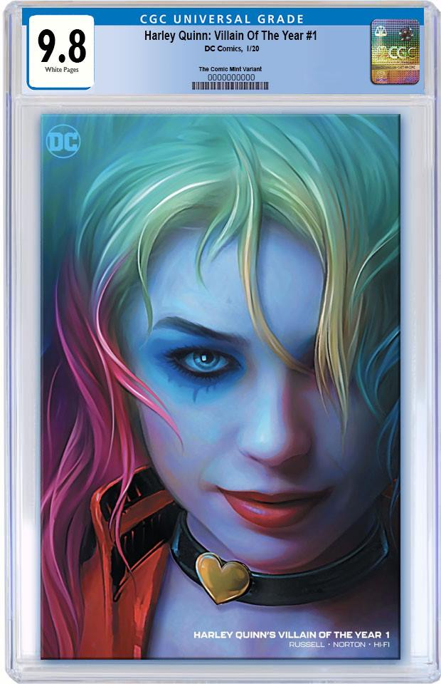 HARLEY QUINN VILLAIN OF THE YEAR #1 SHANNON MAER CUSTOMER APPRECIATION MINIMAL TRADE DRESS VARIANT LIMITED TO 800 CGC 9.8