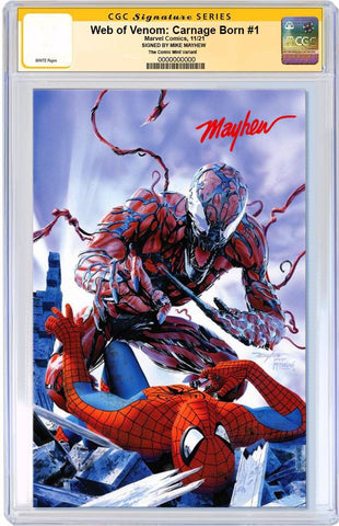 WEB OF VENOM CARNAGE BORN #1 MIKE MAYHEW SPIDER-MAN HOMAGE TRADE DRESS LIMITED TO 1000 CGC SS PREORDER